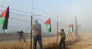 The fence is torn down by Palestinian activists (photo by ISM).