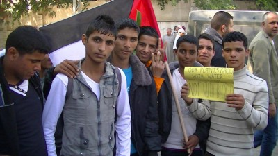 Palestinians demonstrate outside UNSCO – 20/11/13. (Photo by Corporate Watch)