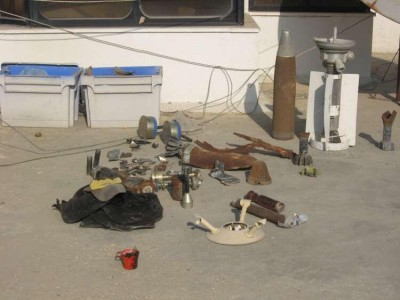 A selection of the weaponry fired on Gaza over the years collected by Al Mezan Centre for Human Rights, Photo taken by Corporate Watch – November 2013