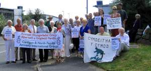 Protest at the Parc Aberporth facility in Wales where the Watchkeeper drone is flight-tested (Photo by Corporate Watch)