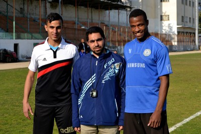 Bahaa Al Farra (left), Ibrahim Abu Hasira (center), and runner Mohammed Abu Khousa. (Photo by Rosa Schiano)