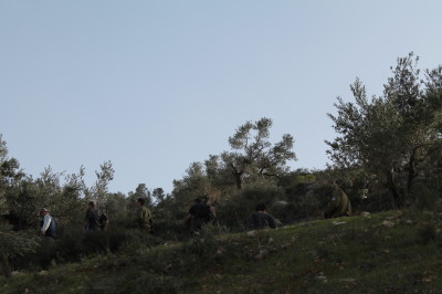 Israeli forces and settlers in Talfeet.