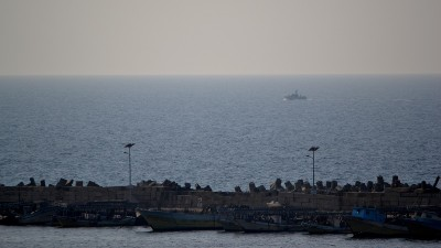 An Israeli gunship cruises near the Gaza seaport. (Photo by Rosa Schiano)