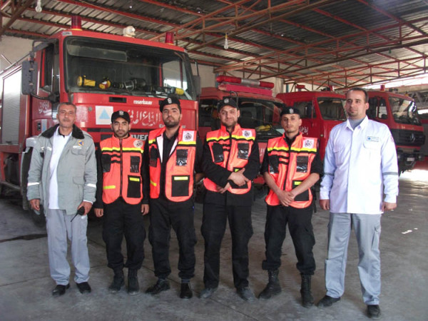 Some of the firefighters I met yesterday (Photo by Paramedics in Gaza)