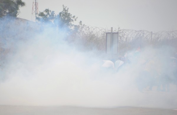 Highly concentrated teargas was fired frequently during the demonstration. Eye irritation was commonplace and as many as 20 people had to be attended by paramedics due to suffocation (photo by ISM).