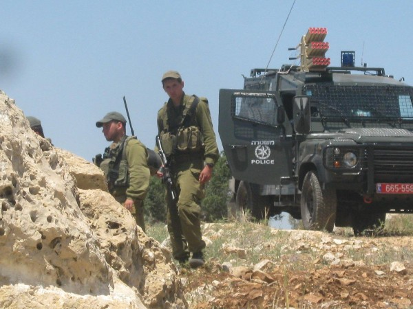 Israeli forces in the area (photo by ISM).