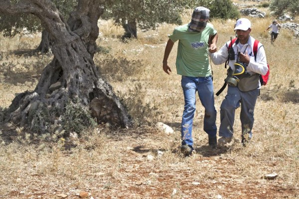 A Palestinian Red Crescent medic aids the injured youth, while other protesters escspe the continued fire of rubber-coated steel bullets (photo by ISM).