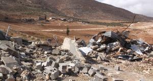 One of the demolished barns