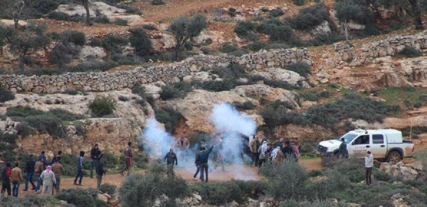 Aqraba residents who showed up for the shepherds are met with tear gas (photo by Aqraba Municipality).