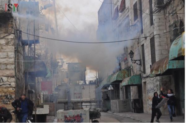 tear gas near Shuhada