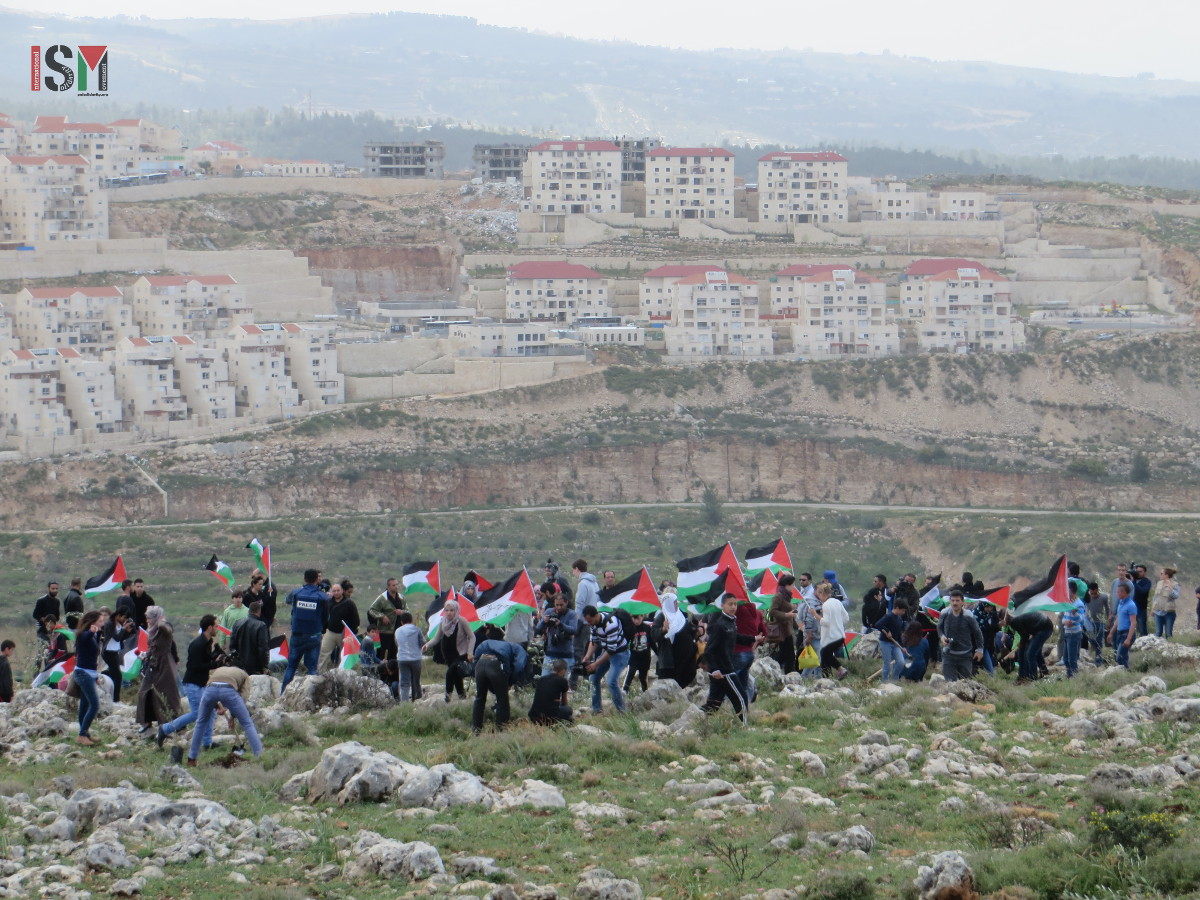 200 people at Land Day protest in Wadi Fukin, Beitar Illit settlement block in the background
