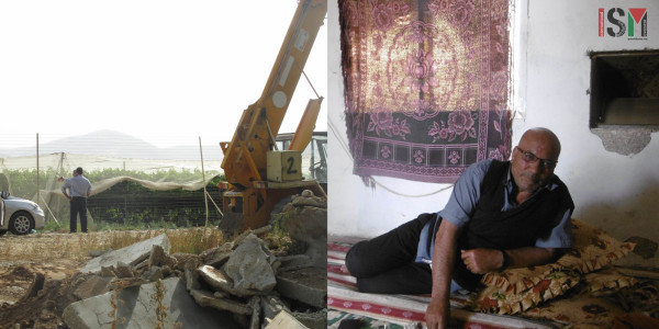 (Left) The settlement of Masu'a's fences right next to the brothers demolished houses. (Right) Meteyb Lahafe Dadoub's family have faced repeated harassment from the Israeli army.
