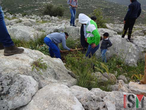 Activists digging in Bruqin (photo by ISM)