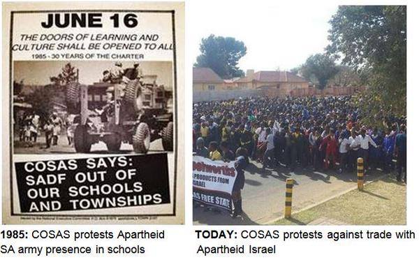 left: COSAS protest in 1985; right: COSAS protest today