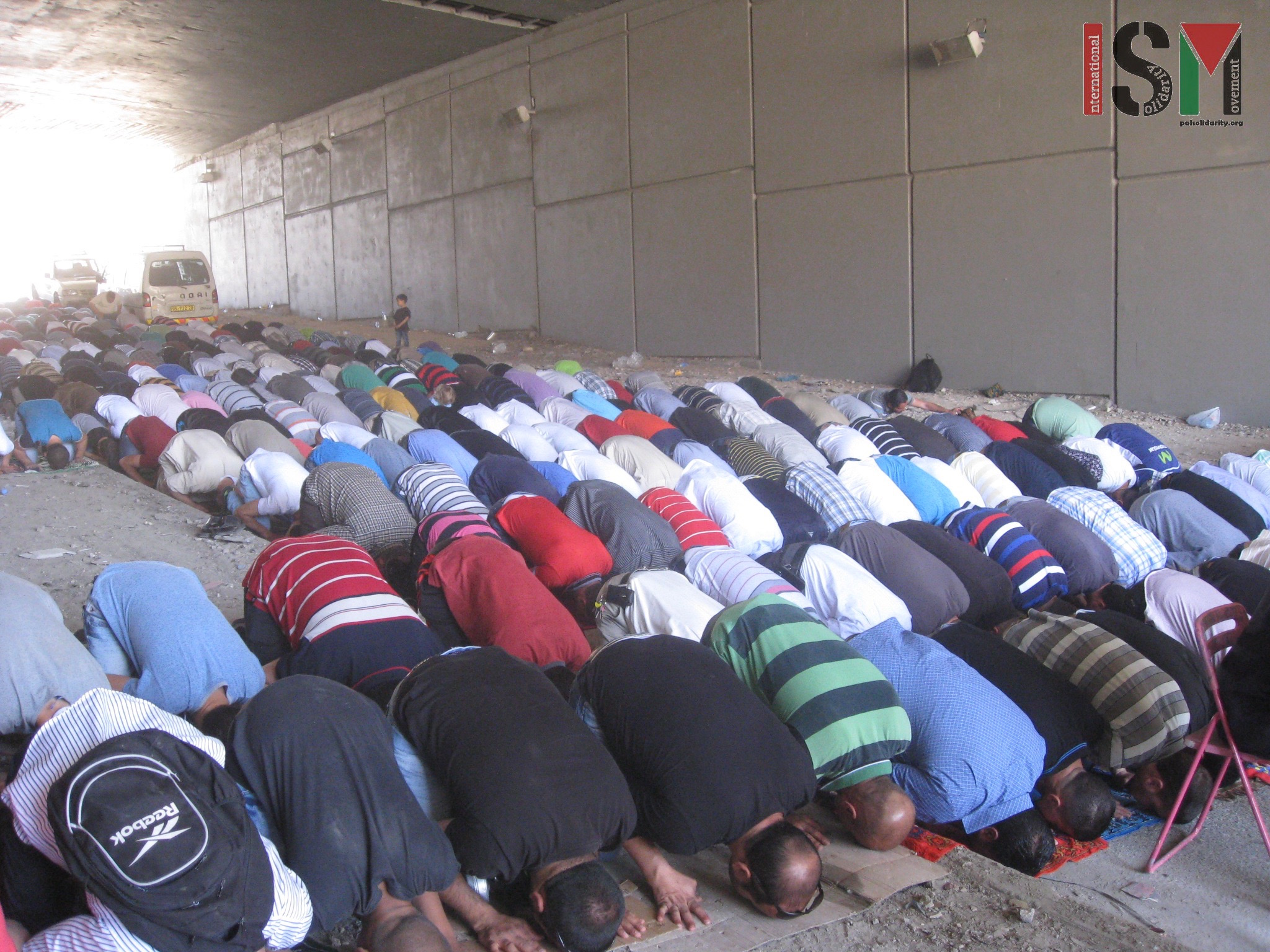 Prayer time during the demonstration