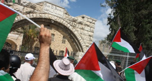 Demonstrators in front of Beit El Baraka