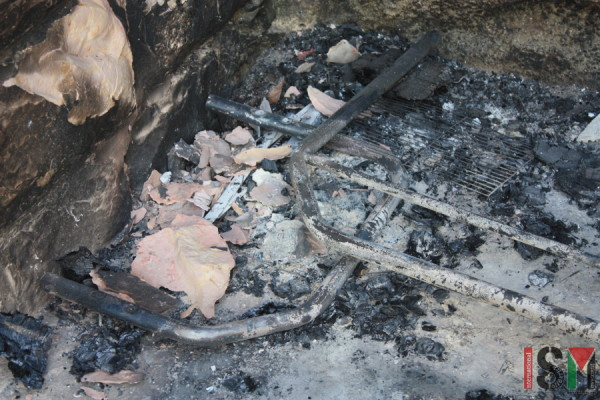 Burnt out scraps of Shamsiye's sofa