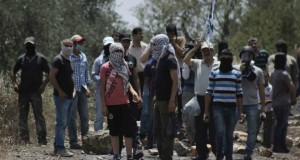 Palestinian demonstrators in Kafr Qaddum