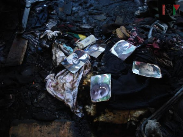 Baby Ali's bedroom in ashes, with his pictures