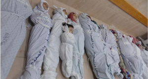 Bodies of children killed in Israeli attack on Gaza last year