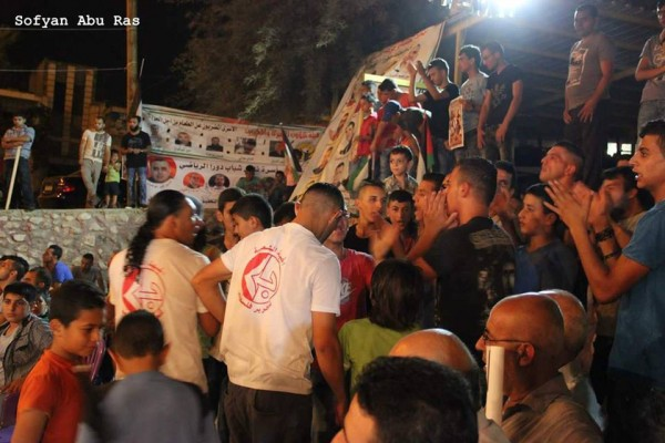 Event in solidarity with the hunger strikers and against political inprisonment. Phote credit: Sofyan Abu Ras