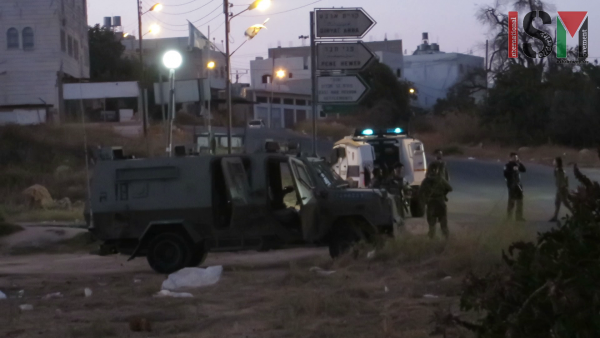 Israeli forces protecting settlers trespassing on private Palestinian land