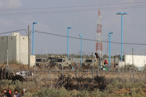 Israeli forces as seen from Gaza