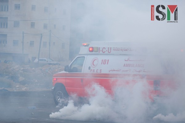 Ambulances targeted with teargas (Photo credit: Mohannad Darabee, ISM)