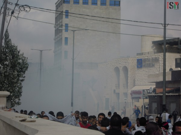 Israeli forces covered the streets with tear-gas
