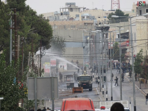 Israeli forces sprayed the streets with skunk water
