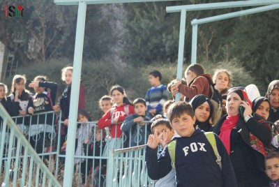 School-children blocked on the stairs by Israeli forces