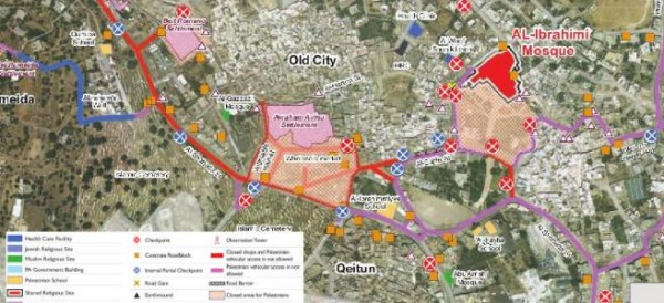Shuhada Apartheid street. Red: no Palestinians allowed. Purple: No Palestinian cars allowed