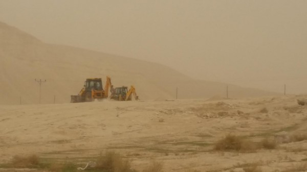 Israeli bulldozers seen preparing the Palestinian owned land in Fasayal, Jordan Valley.