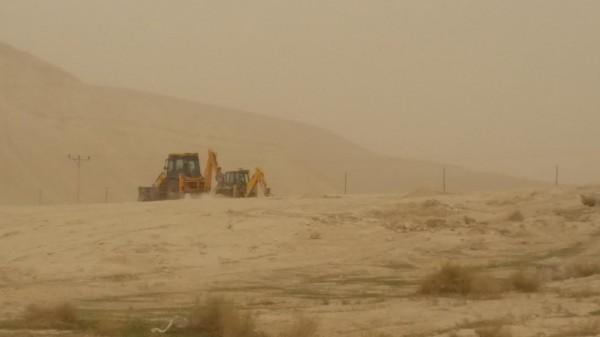 Israeli bulldozers seen preparing the Palestinian owned land in Fasayal, Jordan Valley.