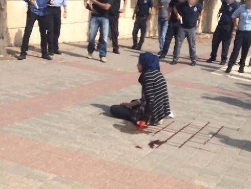 The moment Marah was being fired by Israeli forces on the street, when walking  home back from school