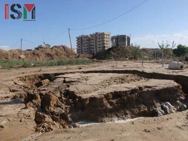 Land subsidence next to the city of Rafah