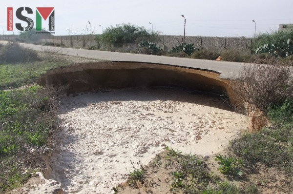 Road destroyed by land subsidence