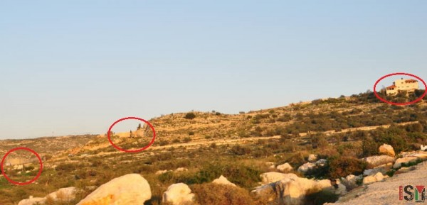 At the center, constructions site. Right sie: the first house of Shufa and at the far left, the first building of the Avne Hefez settlement. the road in the middle is for exclusive settler use.