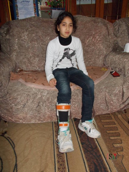 11 year old, Malak, has a physical disability in her legs and must take treatment in the ALYN Hospital.