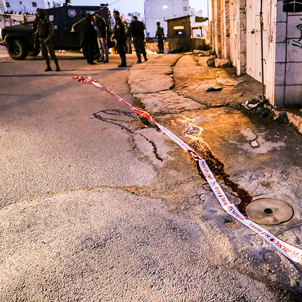 Scene of Yasmins shooting after she was taken away in an army jeep Photo credit: Christian Peacemaker Teams Palestine