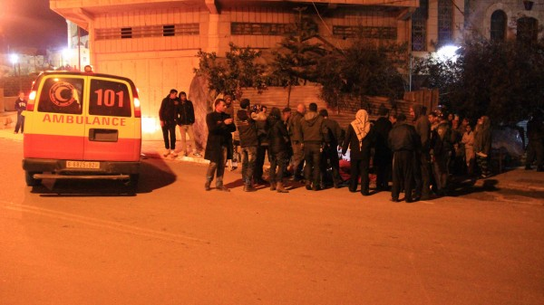 An ambulance arrives to take away injured Palestinians