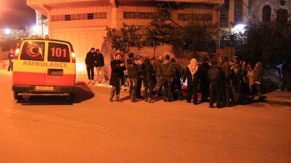 An ambulance arrives to take away injured Palestinians