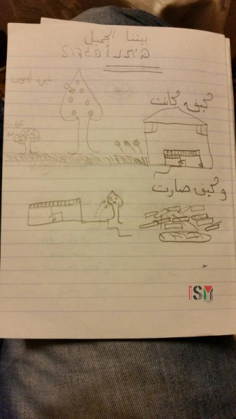 10 year old, tala, made this drawing in school, showing her home before the demolition and afterwords.