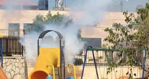 Children's playground showered in tear gas