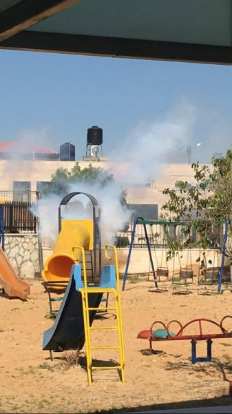 Children's playground showered in tear gas