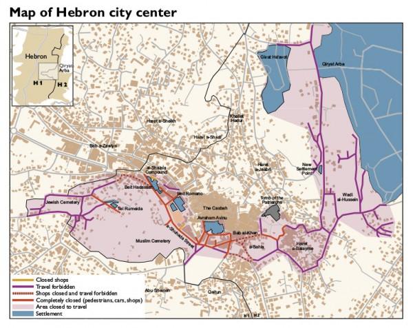 Map of the city center of al-Khalil with Shuhada Street Credit: B'Tselem