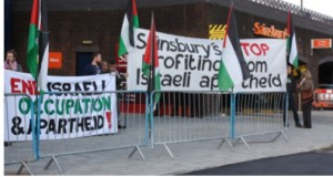 BDS activists demonstrate outside Sainsbury's in Brighton. Photos provided by Brighton & Hove Palestine Solidarity Campaign
