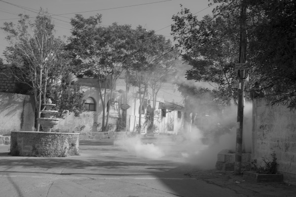 Streets filled with tear gas in the village of Beitunia