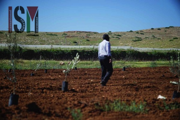 A man in the new field with the Israeli field behind him