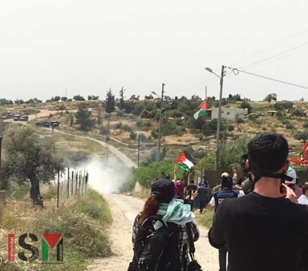Teargas being shot by Israeli Forces towards peaceful protesters